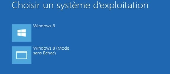 Accéder au mode sans échec avec la touche F8 sous Windows 8
