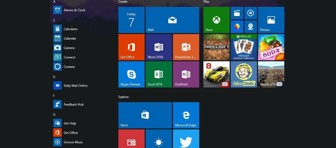 Réparer le menu démarrer Windows 10